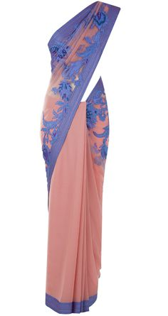 Pink applique work sari available only at Pernia's Pop Up Shop.
