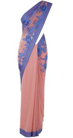 Pink applique work sari by TARUN TAHILIANI. http://www.perniaspopupshop.com/designers-1/tarun-tahiliani