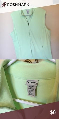 L L Bean fleece vest zip front light green XL L L Bean lightweight fleece vest. Light mint green. Front zip and zip pockets. Women's XL - REG. Polyester. Never worn MAKE an OFFER L.L. Bean Other