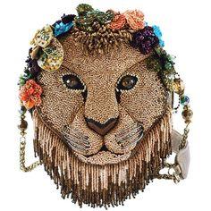 Girl Pride Beaded Lion Shoulder Handbag ❤ liked on Polyvore featuring bags, handbags, shoulder bags, bead, embellish, brown handbags, beaded handbag, shoulder bag handbag, man bag and shoulder hand bags