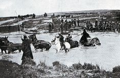 British mule drawn ammunition cart crossing a drift: Battle of Spion Kop on January 1900 in the Boer War Armed Conflict, British Soldier, South Africa, Camel, Two By Two, Battle, African, War, History