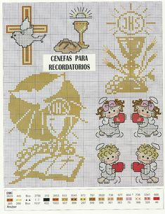 primera comunión Cross Stitch Angels, Just Cross Stitch, Cross Stitch Cards, Cross Stitch Baby, Cross Stitching, Cross Stitch Embroidery, Embroidery Patterns, Cross Stitch Patterns, Faith Crafts