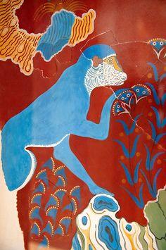 Paul Williams 2012. All rights reserved. Ancient Crete, Mycenae Art, Blue Monkey, Fresco Inspiration, Monkey Knossos, Minoan Fresco, ...
