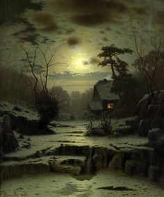 Douzette Louis   Winter Full Moon Landscape