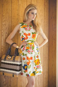 Poppy Prep Cotton Ellery Dress and Wicker Cathy Bag