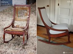 Antique Rocking Chair Before & After (My Yellow Umbrella Upholstery Services)