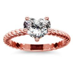 Twisted Rope Solitaire Engagement Ring in Rose Gold | Heart