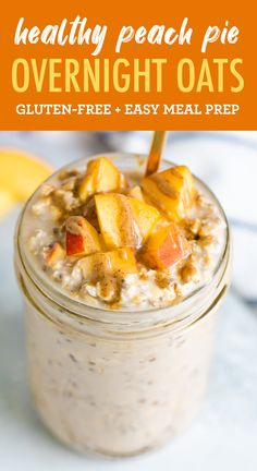 These peach overnight oats taste like peach pie! Loaded with fresh, juicy peaches and warm spices, this combo is packed with flavor and nutrition.  #eatingbirdfood #overnightoats #oatmeal #peach #glutenfree #mealprep #breakfast #chia Raw Dessert Recipes, Raw Food Recipes, Mexican Food Recipes, Cooking Recipes, Freezer Recipes, Freezer Cooking, Drink Recipes, Cooking Tips, Desserts