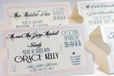 """Vintage Hollywood Movie Ticket Place/Escort Cards.. with the names of the table they are seated at... (i.e. """"Grace Kelly"""" table)"""