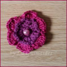 Artesanato com amor...by Lu Guimarães: Flor em crochê para aplicação com Gráfico