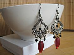 Handmade Vintage Inspired Red Chandelier by SteadyGirlStudios Red Chandelier, Chandelier Earrings, Red Earrings, Cozy Sweaters, Holiday Outfits, Victorian Fashion, Antique Silver, Vintage Inspired, Swarovski Crystals
