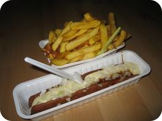 Frikandel speciaal - meat sausage with onion, curry sauce and mayonaise - yum!