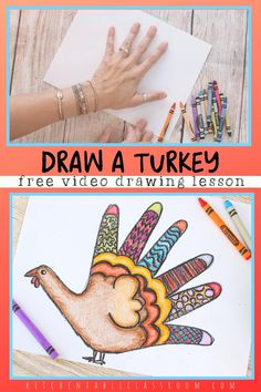 Easy Turkey Drawing for Kids- Free Video Art Lesson