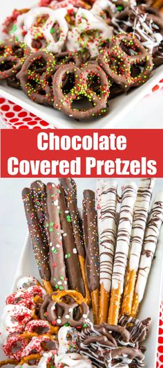 Chocolate Covered Pretzels - super easy and fun treat for any occasion. A sweet and salt treat that you can make in minutes and decorate for any holiday. Pretzels dipped in your favorite chocolate and coated in sprinkles. Best Christmas Cookies, Christmas Desserts, Christmas Treats, Christmas Foods, Valentine Treats, Christmas Baking, Valentines, Best Chocolate Desserts, Chocolate Lovers