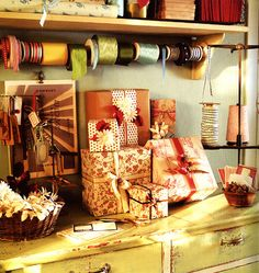 At some point, create a gift wrapping station in spare closet! Wrapping presents is one of my favorites