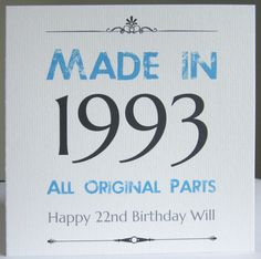 Personalised Handmade Birthday Card Male Men 18th 21st 30th 40th 50th ANY YEAR