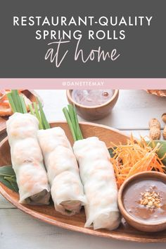 These healthy Spring Rolls with a Peanut Dipping Sauce let you be a star chef right in your own kitchen… AND stay in control of your healthy eating goals. So if you love a good Spring Roll (and who doesn't?), head over to the blog for the recipe! Clean Eating Recipes, Healthy Dinner Recipes, Healthy Eating, Healthy Spring Rolls, Shrimp Spring Rolls, Peanut Dipping Sauces, Asian Appetizers, Recipe Tonight, Star Chef