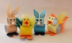 Påskpyssel kaniner och kycklingar av toalettrullar