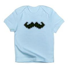 bitstache infant t-shirt > $14.99US > babybitbyte (cafepress.com/babybitbyte) *check out the babybitbyte storefront for this and other designs! most designs from infant to adult!* #hipster #nerd #geek #pixels #pixel #8bit #iam8bit #mustache #stache #gamer #gamers #nes #pixelart