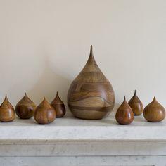 Wooden teardrop vessels - love these