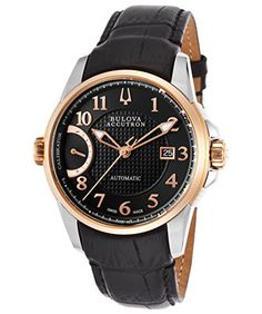 Men's Wrist Watches - Bulova Mens Calibrator Swiss Automatic Stainless Steel and Leather Casual Watch ColorBlack Model 65B148 *** See this great product.