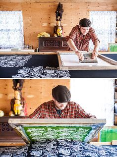 Thief and Bandit prints four yards of fabric at a time on a custom table, printing up to 100 yards monthly. Screen Printing Machine, Screen Printing Process, Screen Printing Shirts, Batik, Canadian Artists, Textile Prints, Fabric Painting, Printmaking, Printing On Fabric
