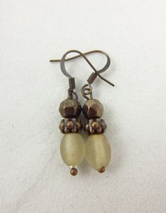Frosted Glass and Antique Copper Earrings Handmade Dangle Earrings by PMOriginals on Etsy