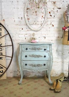 French Night Table Painted Cottage Shabby Chic Romantic French Bombay Night Table NT829