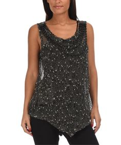 Another great find on #zulily! Pomme Rouge Black & Beige Sheer Pocket Handkerchief Tank - Women & Plus by Pomme Rouge #zulilyfinds