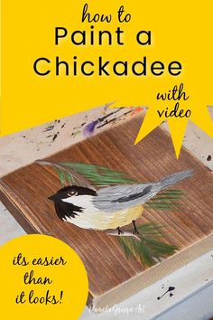 Learning to paint a chickadee is easier than you think! This step by step painting tutorial will help you paint beautiful chickadees.  Video and downloadable painting workbook with pattern is available. You can paint this! Happy Paintings, Small Paintings, Tole Painting, Diy Painting, Gouache Painting, Watercolor Paintings, Easy Flower Painting, Painting Lessons, Painting Techniques