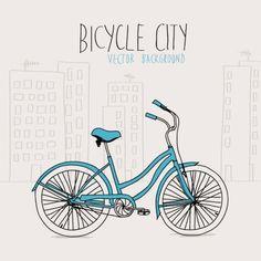 bicicleta ciudad Vector Gratis