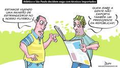 Charge do Dum (Zona do Agrião) sobre Atlético e São Paulo duelarem nas quartas de final da Libertadores com técnicos estrangeiros e o momento político conturbado que vive o Brasil (18/05/2016). #Charge #Dum #Atlético #Bauza #Aguirre #Libertadores #HojeEmDia
