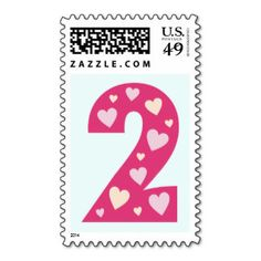 Happy Pink Hearts Number 2 Birthday Postage Stamps