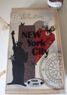 Je prends un moment pour vous présenter un album sur notre séjour New Yorkais ( encore un ...!!) mais cette fois, je souhaitais faire un album aux tendances Urbaine et Métal La base de cet album est un album toilé , avec des pochettes tissu et autres...