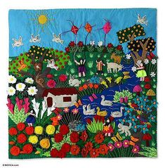 A Spring Day Applique Wall Hanging Andean Folk Art Applique Wall Hanging, Quilted Wall Hangings, Woven Wall Hanging, Peruvian Art, Mexican Crafts, Mexican Embroidery, Animal Quilts, Spring Day, Whimsical Art