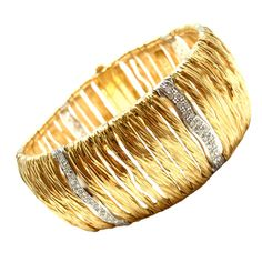 View this item and discover similar for sale at - Yellow Gold Diamond Elephant Skin Domed Wide Bracelet by Roberto Coin. With 114 round brilliant cut high quality diamonds, SI, G color. Diamond Bracelets, Cuff Bracelets, Bangles, Roberto Coin, Aqua Marine, Quality Diamonds, Elephant, Jewels, Silver