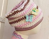 Ice Cream Granny Square Funny Hat with Butterflies. Baby to Adult sizes.