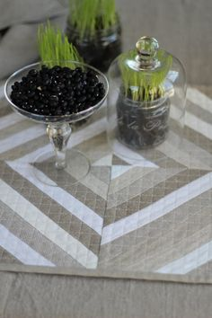 Quilted Linen Placemats Set of 2  Quilted Gray Modern by alabatis