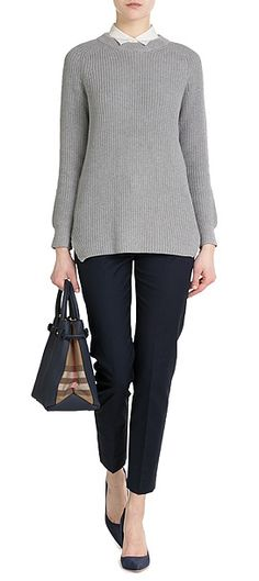 In a pale shade of grey, this ribbed cotton pullover is Rag & Bone's cool spin on the classic staple #Stylebop