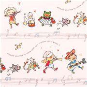 white animal children music oxford fabric Kokka A Toy Chest