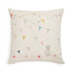 PILLOW-CIRCUS OWL  Playful animal illustrations come to life on this soft pillow, illustrated in pastel hues.