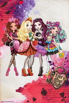 Ever After High, left to right...  Briar Beauty, Apple White, Raven Queen, Madeline Hatter.