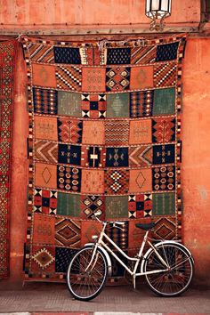 Handmade patchwork Moroccan rug in a Marrakesh street.  #Moroccan #Rugs.