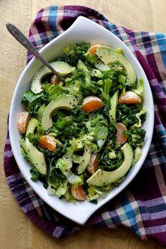 Kale, Avocado, Tangerine, and Sesame Salad #healthy #salad #avocado