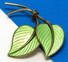 Vintage Sterling Silver Leaf Brooch Pin Enamel Green 10.9 gr Made in Norwegian  #Unbranded