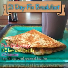21 Day Fix Breakfast.  Vegan 21 Day fix.  The container used is indicated in the pic via font color.