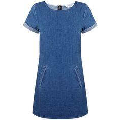 Miss Selfridge Petites Denim T Shirt Dress (€54) ❤ liked on Polyvore featuring dresses, denim, petite, women, t shirt dress, petite shirt dress, blue dress, shirt dress y shirt-dress