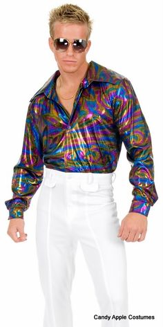Plus Size Adult Swirling Colors Disco Shirt - Candy Apple Costumes - Browse All Plus Size Costumes