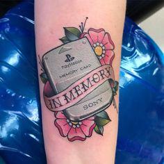 In Memory Playstation Tattoo Gamer Tattoos, Cartoon Tattoos, Anime Tattoos, Body Art Tattoos, Tatoos, Nintendo Tattoo, Gaming Tattoo, 4 Tattoo, Card Tattoo
