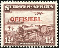 "South West Africa  1938 Scott O17, 1½d violet brown ""Mail Transport"" Overprinted in Red"